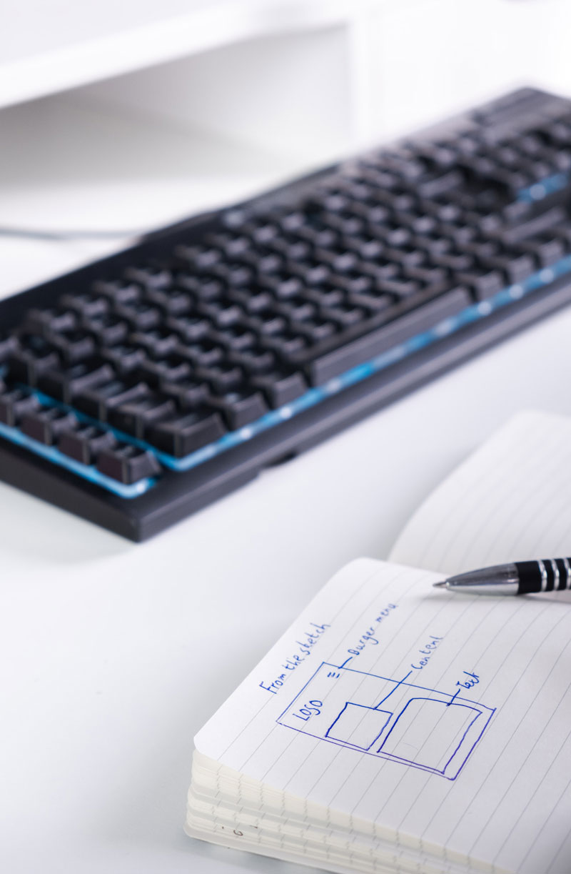 keyboard and note for design
