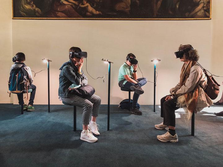 virtual band team playing